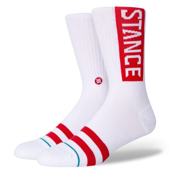 Chaussettes Stance rouges et blanches Motard Society